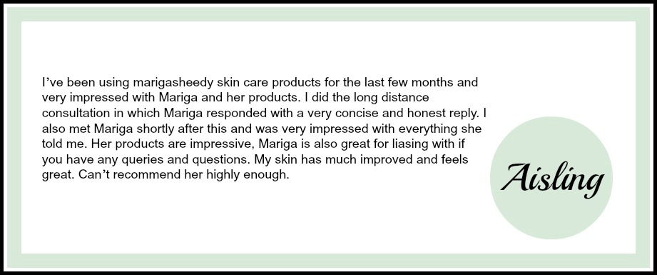 Testimonial for Skin Essentials by Mariga results driven skincare products from online and distance assessment clients