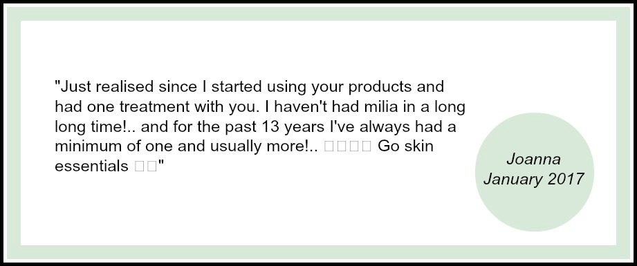 Testimonial from Skin Essentials client about milia removal treatment in Wexford