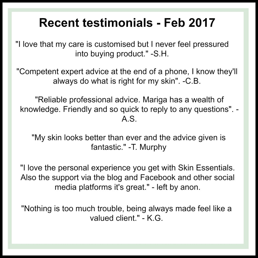 Glowing testimonials for Skin Essentials by Mariga staff, products and treatments left by clients customers and fans.