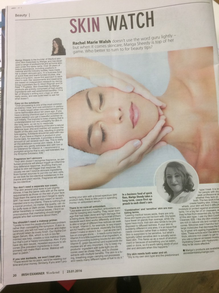 Irish Examiner interview with Mariga from Skin Essentials