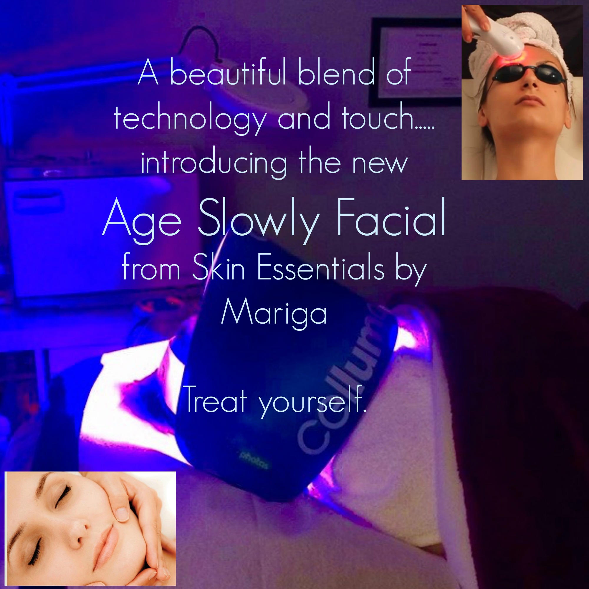 Photo of client receiving Celluma light treatment as part of the Skin Essentialls by Mariga Age Slowly Facial