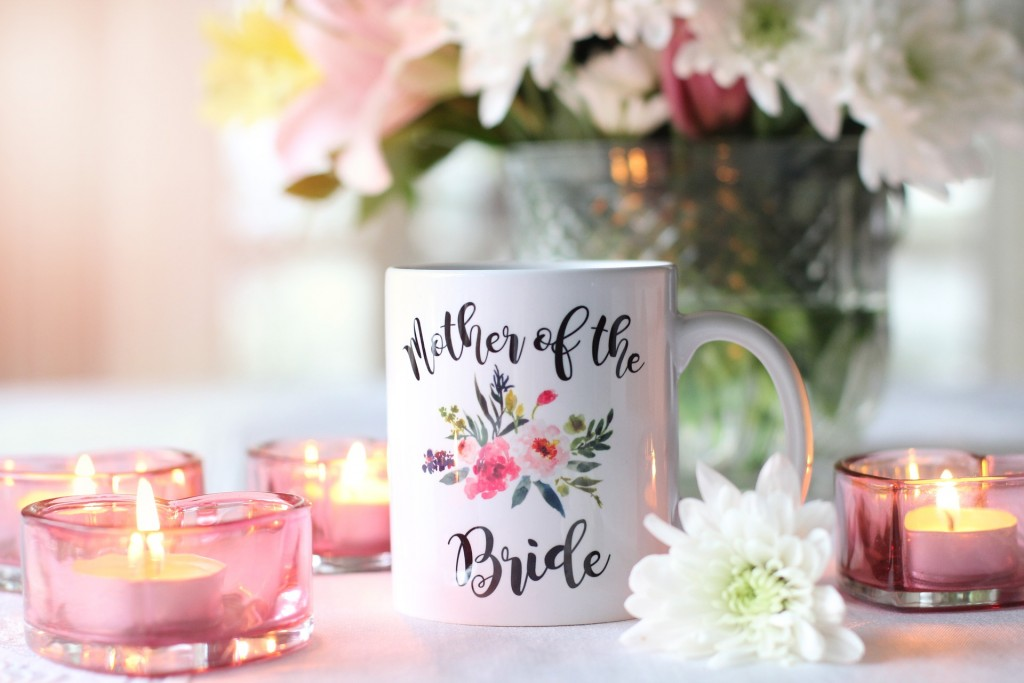 Mother of the bride flower candles cup slogan image