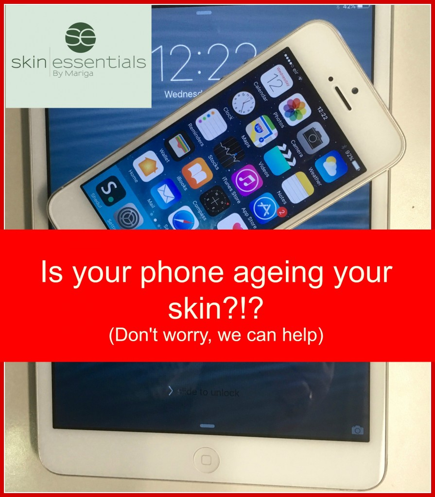 Skin Essentials Wexford skin clinic anti-ageing blue light graphic with phone, iPad and text is your computer ageing your skin, don't worry we can help
