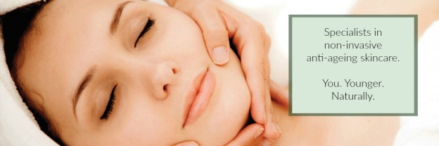 Skin Essentials banner image, facial with the words specialists in non-invasive anti-ageing skincare. you. Younger. Naturally