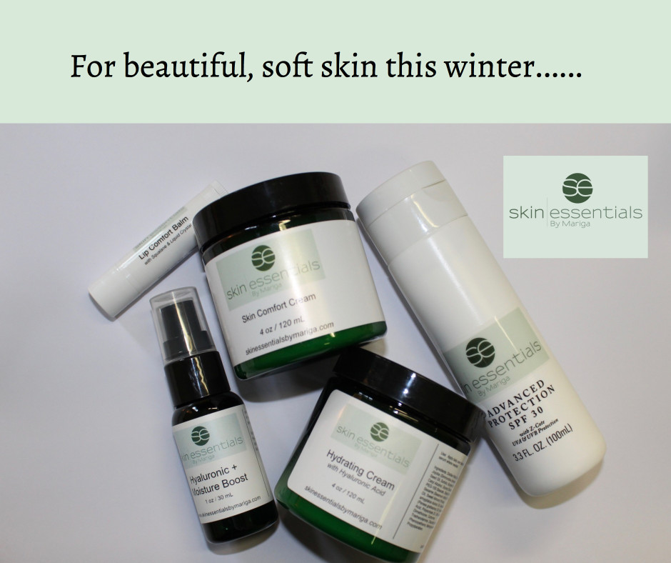 Image of the top five winter skin products from Skin Essentials by Mariga, Wexford