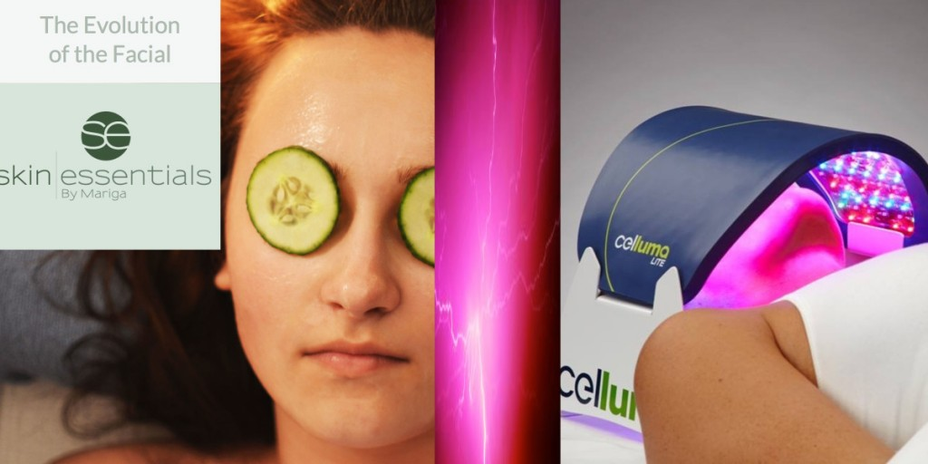 Pic showing two types of facial - one relaxing spa like, the other cutting edge technology with LED lights from Skin Essentials by Mariga clinic Wexford