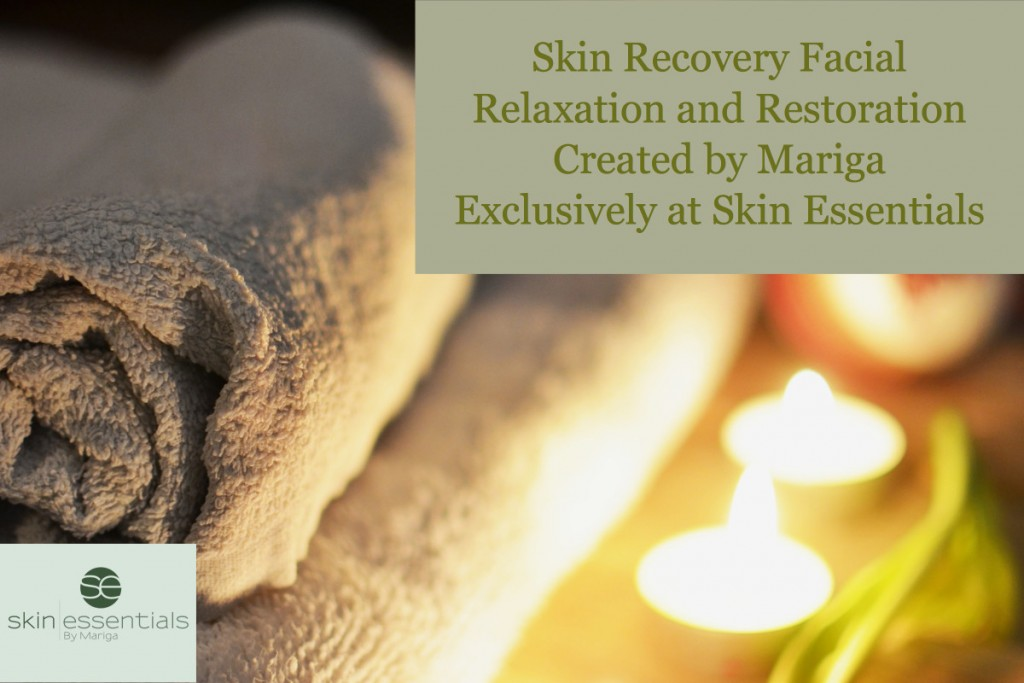 spa candles and towels close up photo with the caption skin recovery facial for relaxation and restoration created by mariga exclusively at Skin Essentials clinic wexford
