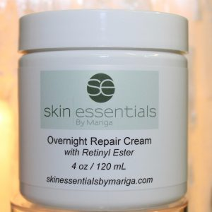 Close up pic of Overnight Repair Cream from Skin Essentials by Mariga, Wexford, 120ml white tub with logo and ingredients and instructions