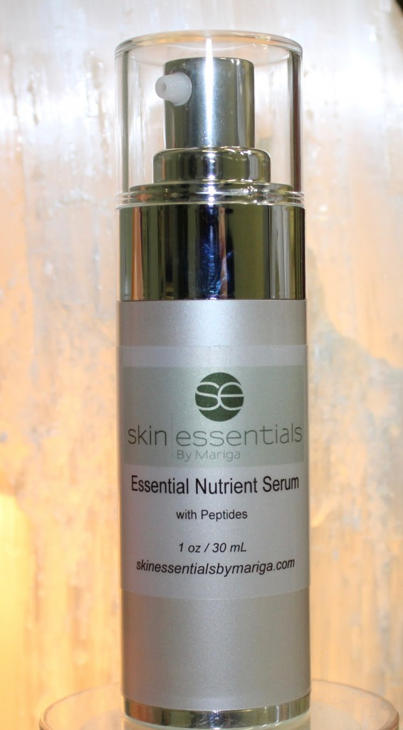 Close up pic of 30ml Daily Essentials Nutrient Serum from Skin Essentials by mariga, wexford. Airless pump bottle for sensitive, oily or dehydrated skin