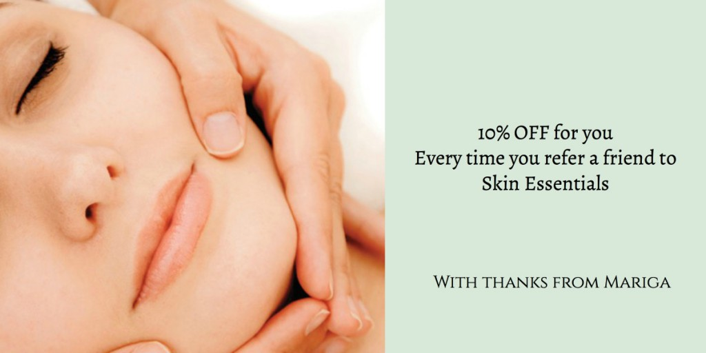 Discount code graphic - 10% off product or treatment at Skin Essentials by Mariga, Wexford, when you refer a friend for a facial service