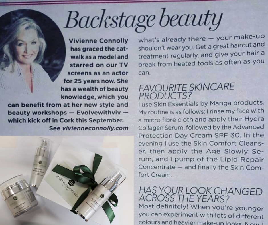 Vivienne Connolly skincare recommendation Clipping from the Irish Independent weekend magazine where vivienne connolly outlines her skin essentials by mariga favourites and skincare routine