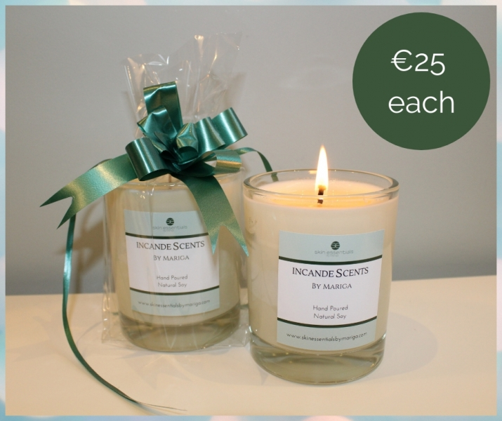 scented candles, soy candles, natural scented candles, skin essentials by mariga, wexford