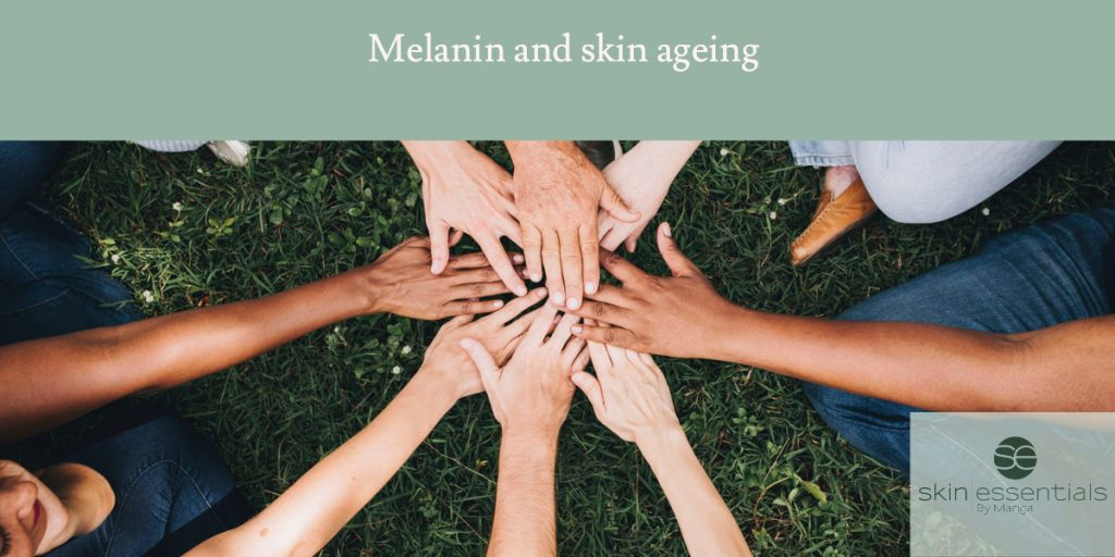 Photo showing clasped hands of all skin colours to illustrate different skin colours and melanin density as regards sun or UVA UVB vulnerability. Blog post on premature skin ageing in light skin types by Mariga, Skin Essentials, Wexford, Ireland. Advice and tips in the article to combat melanin deficiency and ageing