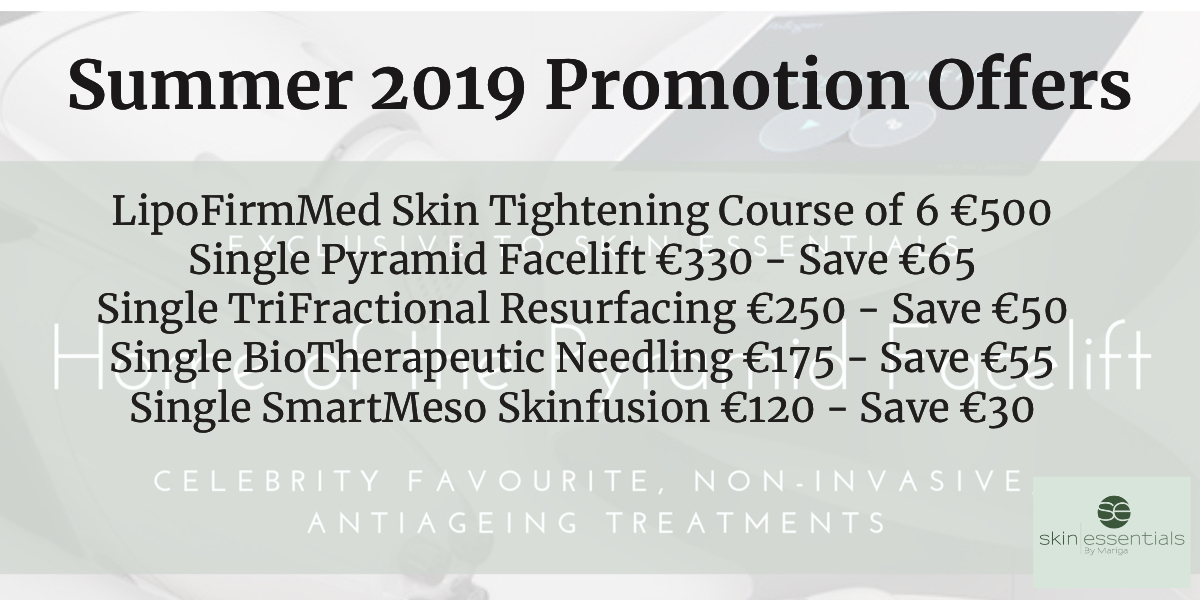 List of promotional offers on Skin Essentials by Mariga wexford advanced skin treatments, 50 to 75 euro off special offers on microneedling, trifractional, pyramid facelift, LipofirmMed